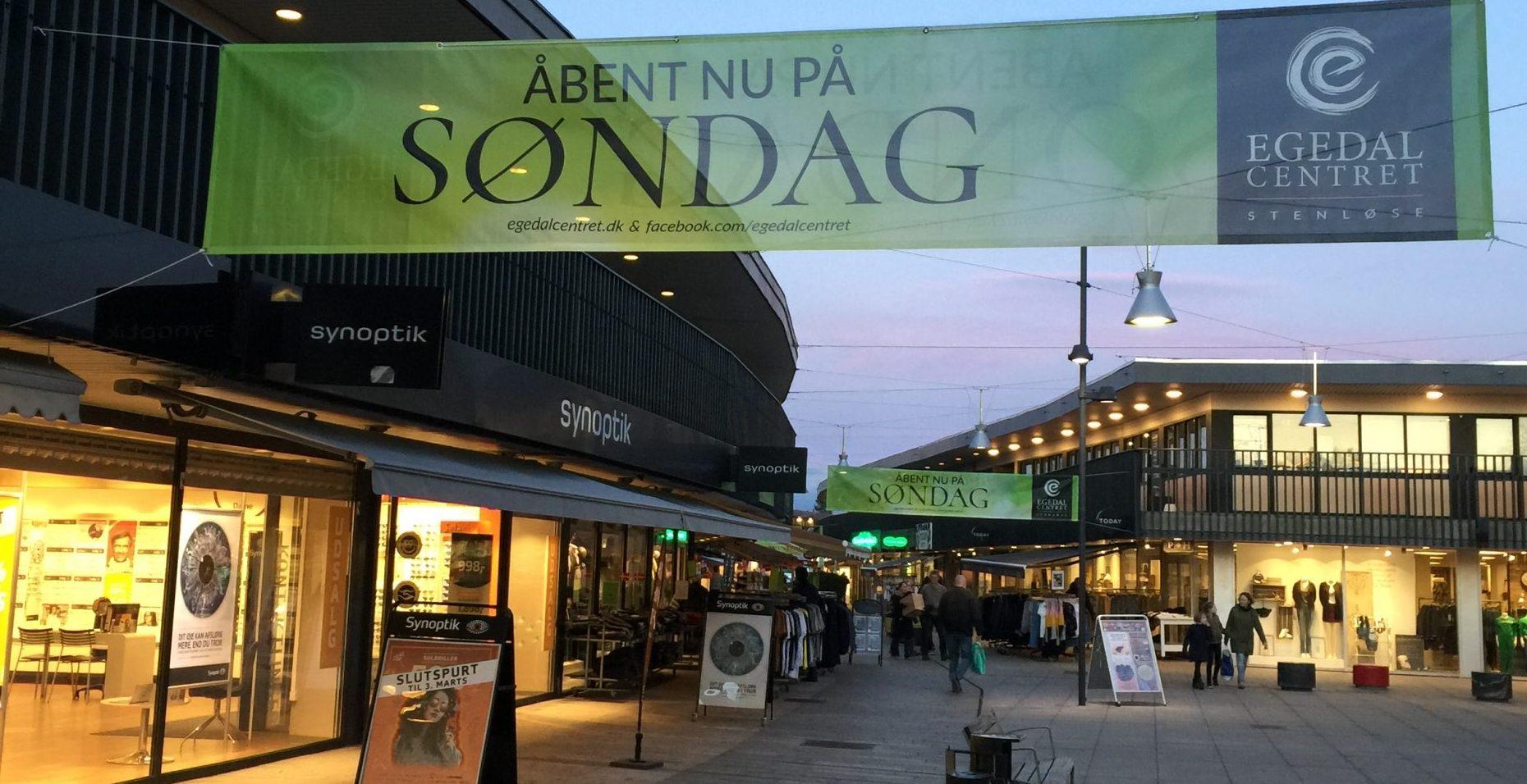 Husk Søndagsåbent i Egedal Centret den 4. august